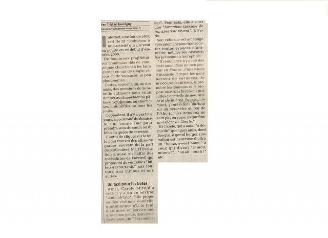 """article journal """"La Provence"""" du 11 février 2007"""