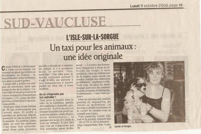 "Article journal ""La Provence"" 9 octobre 2006"
